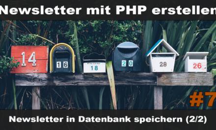 Einfachen Newsletter erstellen mit PHP #7